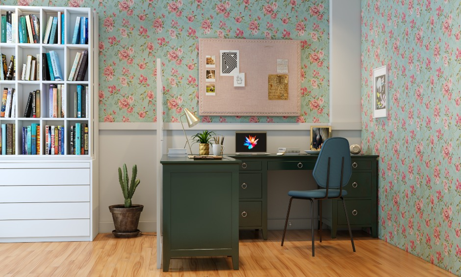 Home office design with floral patterned wallpaper