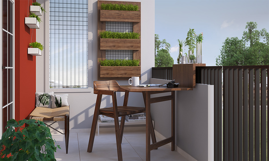 Busy mom interior hacks, Balcony design with ceramic tiles, foldable furniture and hanging plants are low maintenance.