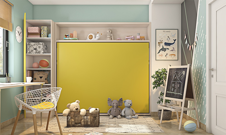 Simple layout kid's bedroom with murphy bed design is the best interior hacks for a busy mom.