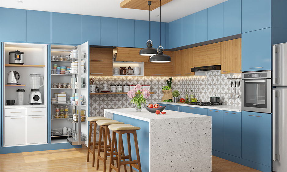 Mother's day kitchen interior hacks, Island kitchen storage unit with an easy and accessible design in minimal style.