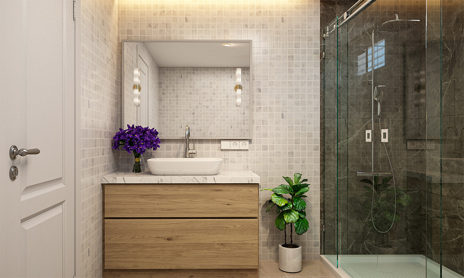 A bathroom with proper storage to organise toiletries, towels and other related items evade interior mistakes.