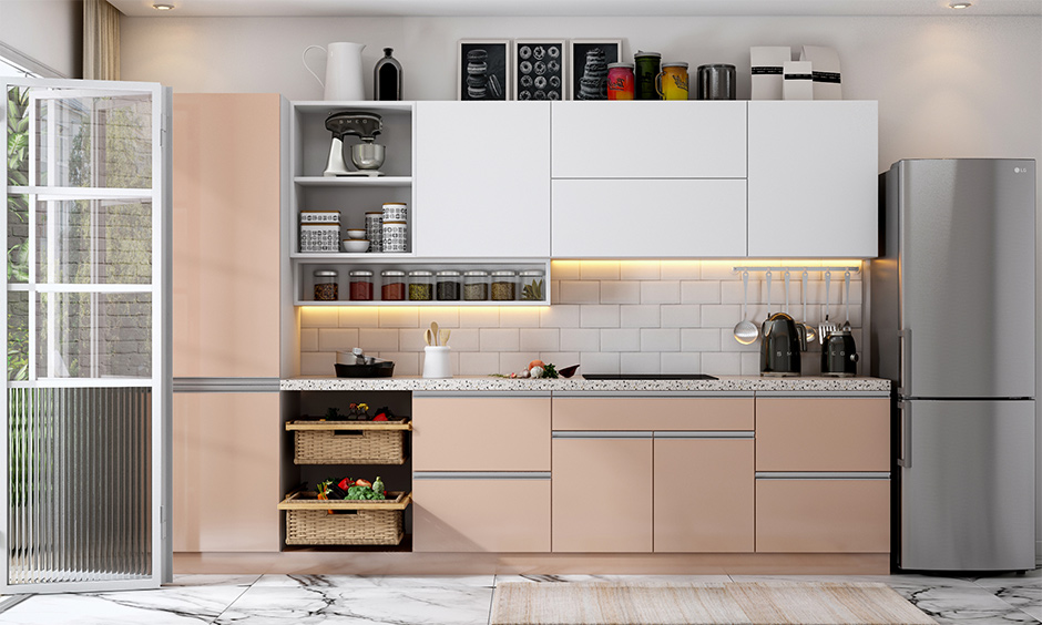 Kitchen interior mistakes with too many items displayed/stored on shelves and countertops look untidy.