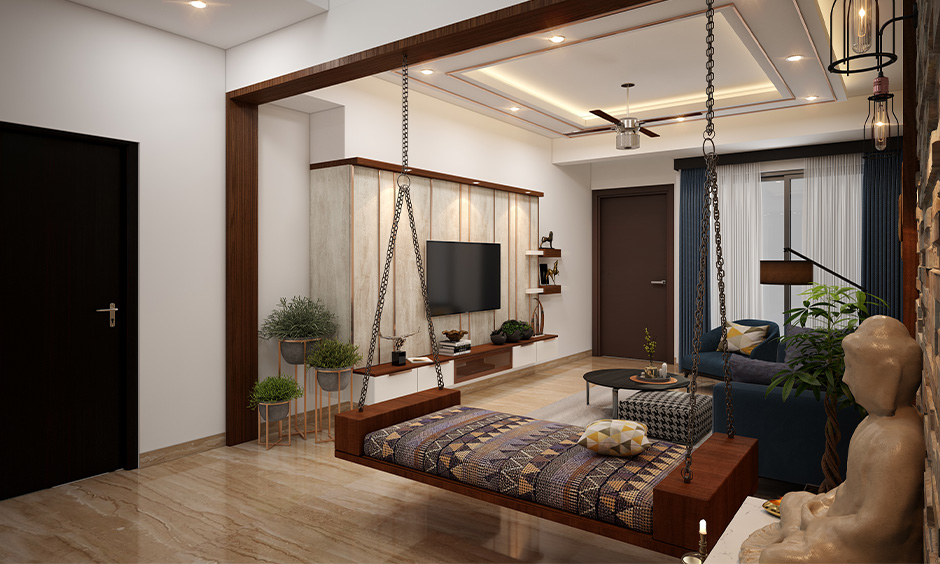 Cool entertainment room ideas relaxing and entertaining with a swing and cosy sofa.