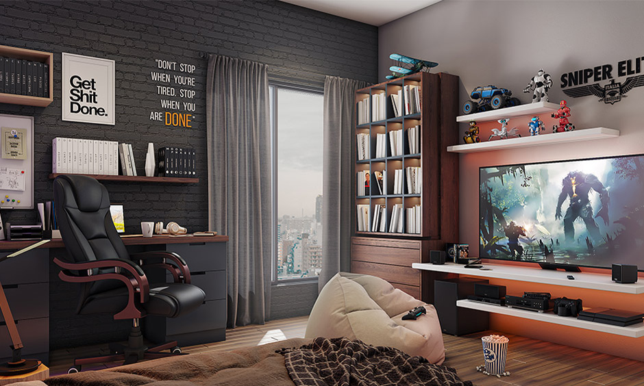 Comfortable entertainment game room idea with floating tv unit with shelves, brick wall and wooden flooring looks elegant