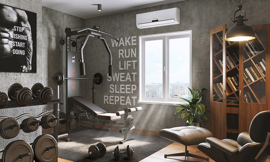 Gym entertainment room idea with a library designed in grey colour lends a classic look.