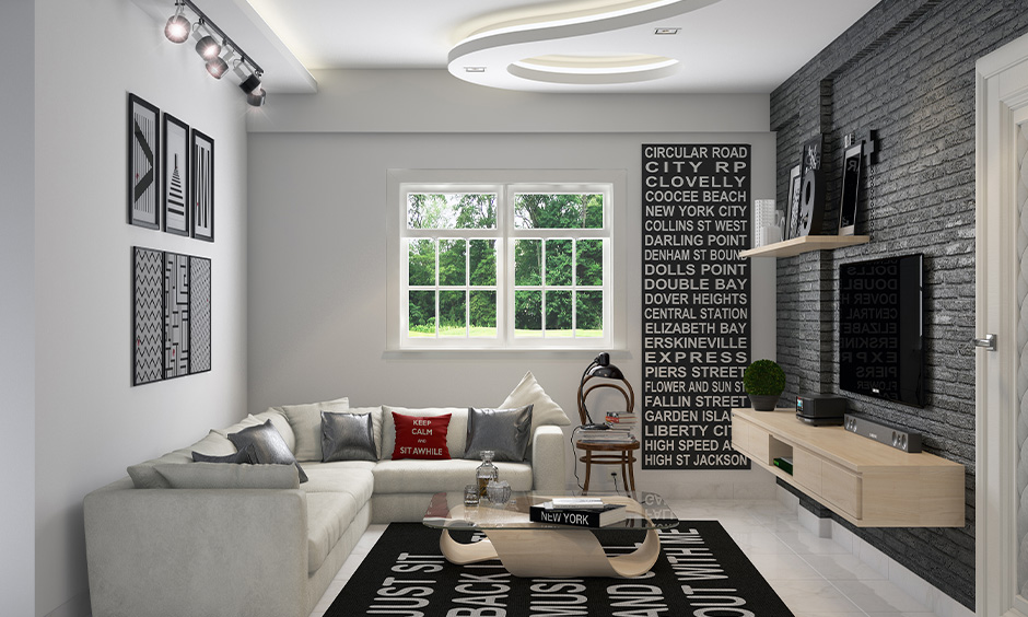Entertainment room ideas small room with TV unit with a wooden cabinet and open shelves brings the industrial vibe.