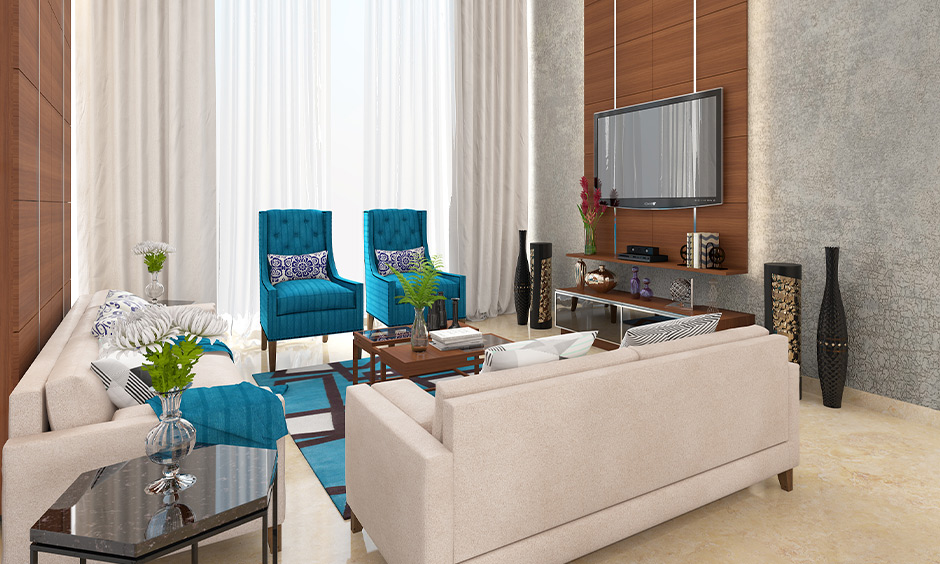 Entertainment room idea with minimum furniture, a large window and white marble flooring is chic and straightforward.