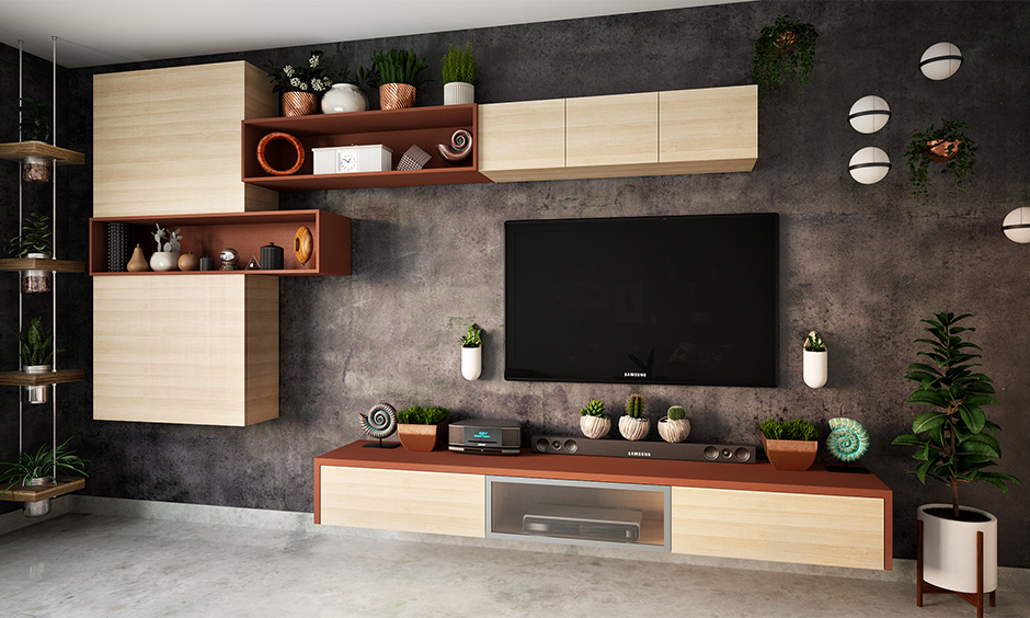 Small living room entertainment idea with floating tv unit and indoor plants brings nature vibe.