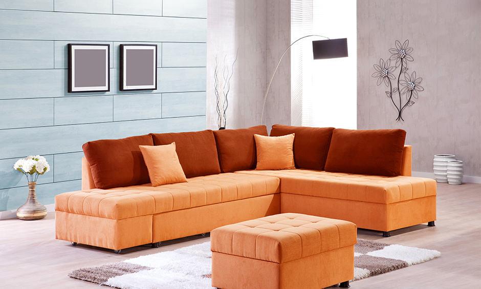Elegant living room set-up with an armless corner sofa design
