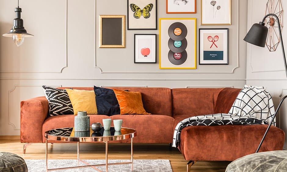 Living room set up with a velvet corner sofa design