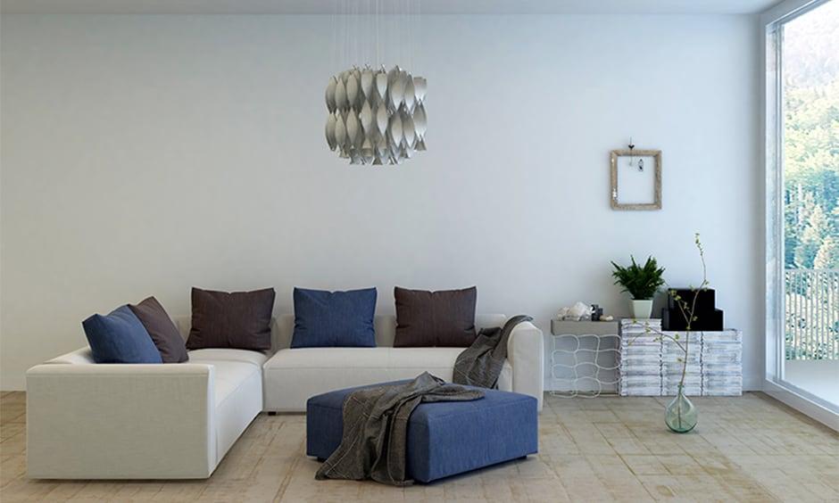 White fabric living room corner sofa design