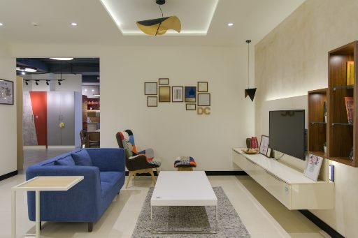 Living room design for experience center design cafe hsr bangalore