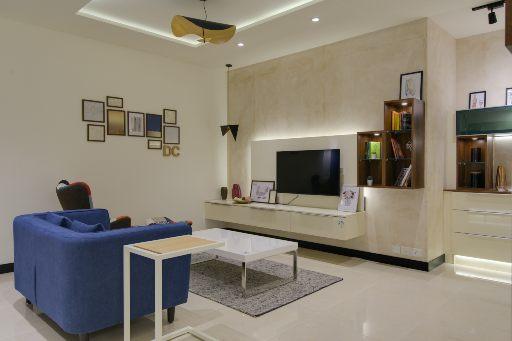 Tv unit design for design cafe experience center hsr bangalore