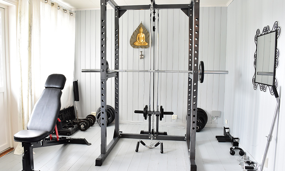 Gaming room interior design, small gym room combined with fun is a part of the game too.