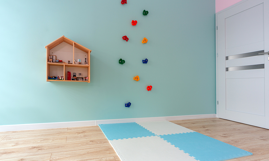 Design your dream room game; Kids room has a wall-climbing set-up that keeps entertained for longer attention spans.