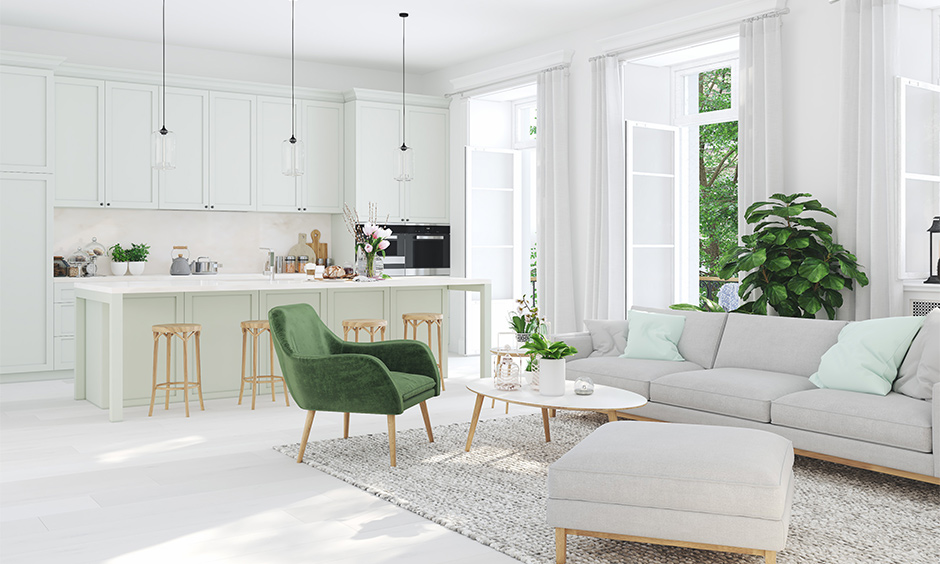 Latest colour schemes for living rooms involving white and green which breaks the monotony of white on the walls