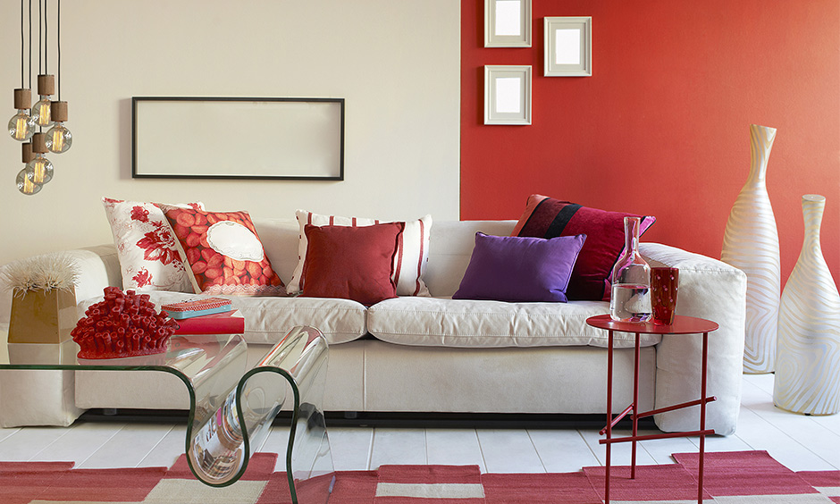 Latest living room colours involving red and white which is associated with feelings of love