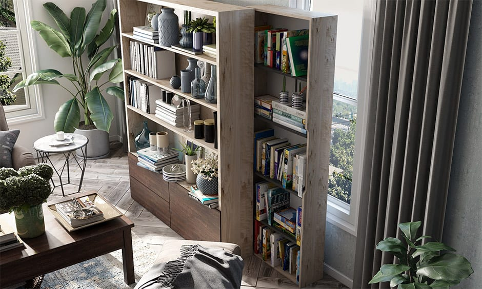 Sliding bookshelf for small apartments to save-space