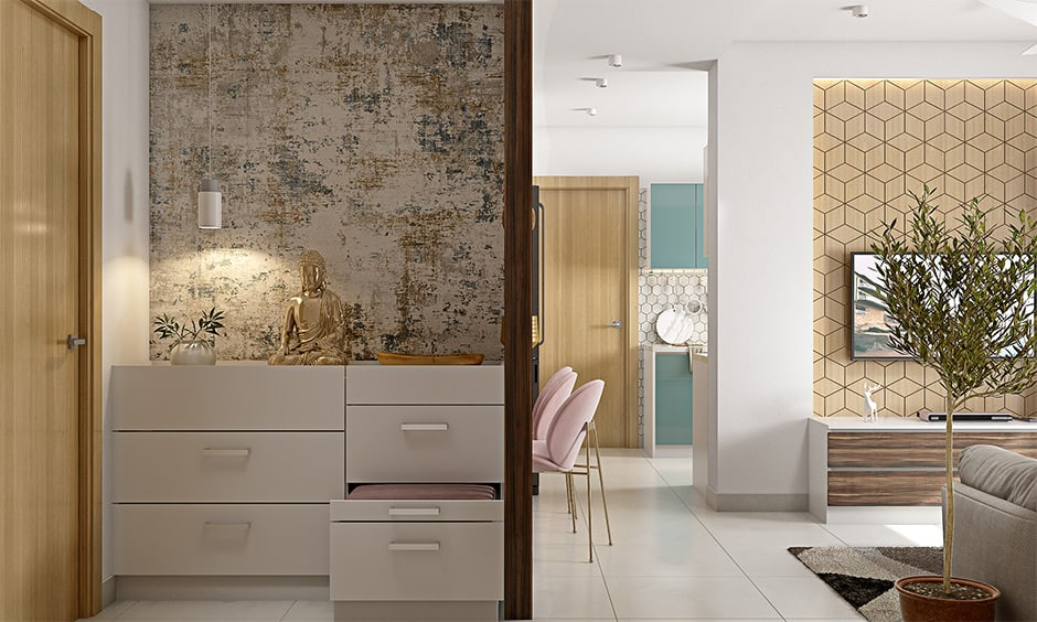 Space-saving cabinet with inbuilt seating for your foyer area