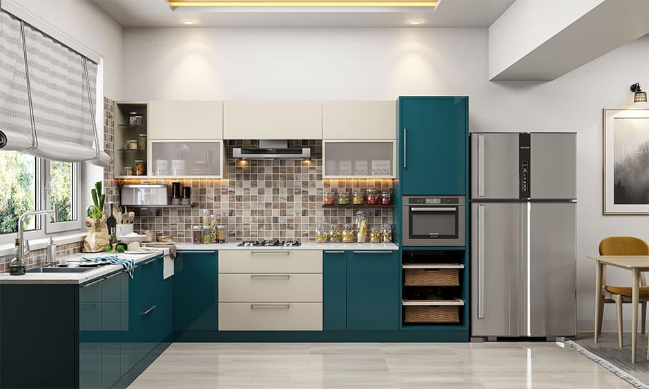 Space saving kitchen design with smart storage facilities