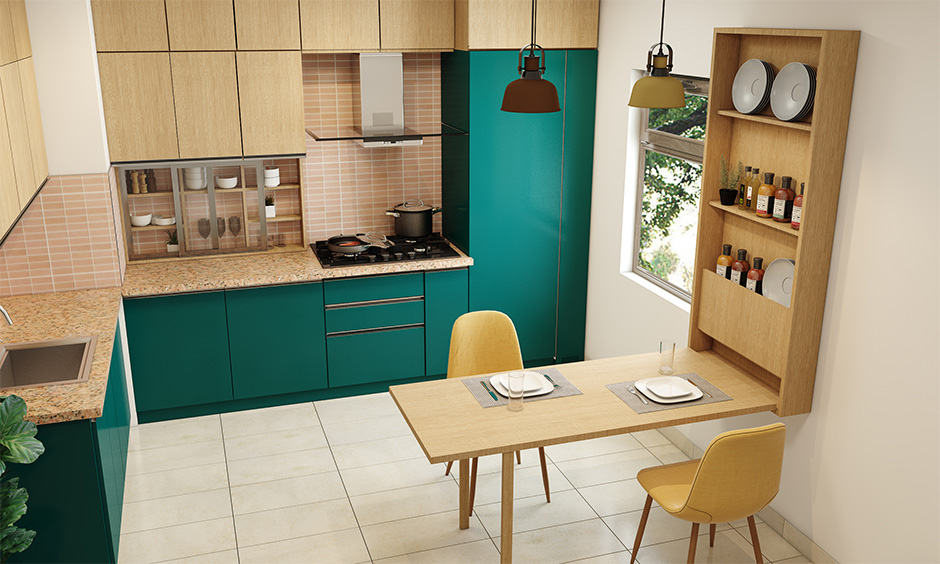 Space saving option for small families with a foldable breakfast counter in kitchen