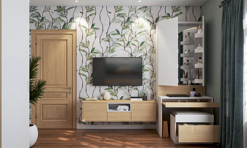 TV unit with a hidden dresser to save space in small bedroom