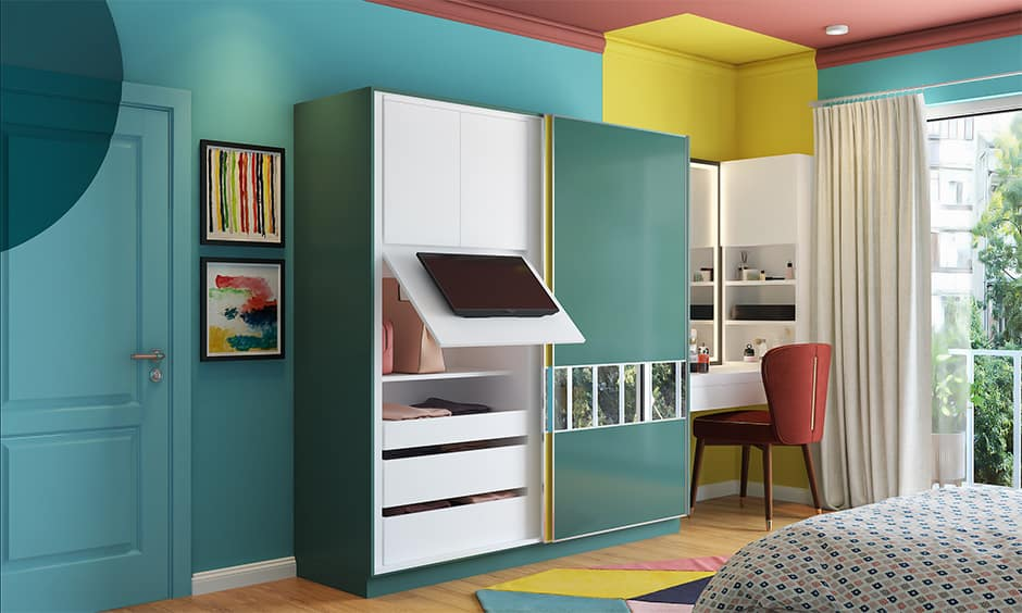 Wardrobe with a flip up tv unit and hidden storage for small families