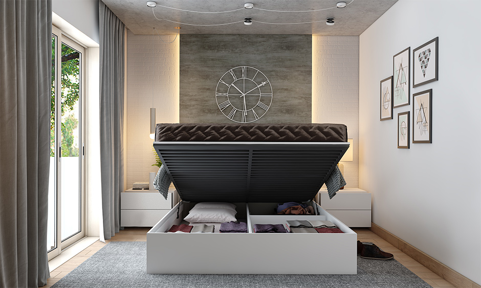 Hydraulic space-saving bed with hidden extra storage space keeps things organised.