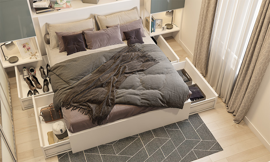 A space-saving bed with side drawers is an intelligent way of keeping the bedroom clutter-free