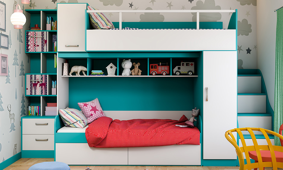 A bunk bed with a lot of storage and an attached bookshelf is the best space-saving bunk bed.