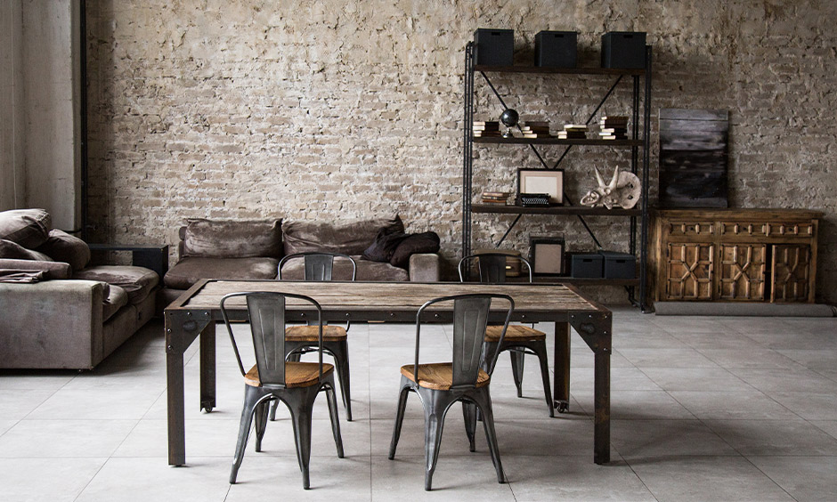 Rustic Scandinavian living room with a stone cladding wall accent and wooden furniture look stylish yet clutter-free.