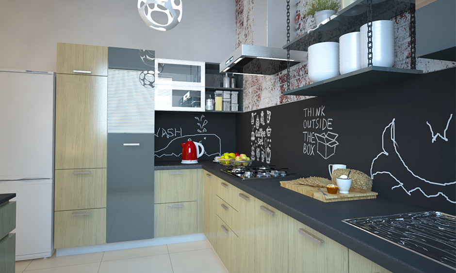 Small kitchen interior in urban Indian style with creative backsplash and brick cladding looks aesthetic.