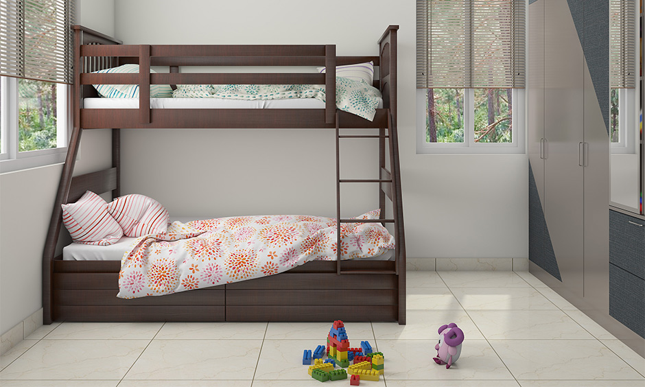 Classic space saving bunk bed for kids in brown colour creates an environment of interest.