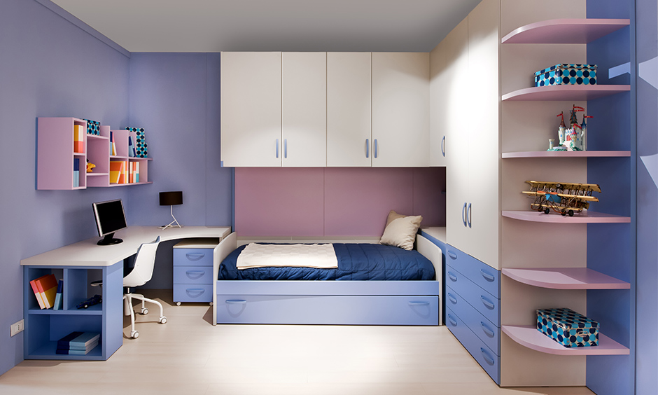 Space-saving kids bed with extended wall mounted cabinets and wardrobe elegant design.