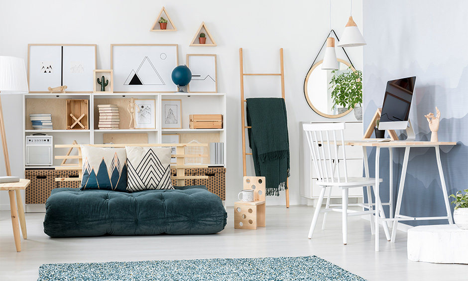 Space-saving living room furniture, the white living room has a futon that saves more space and acts as a couch.