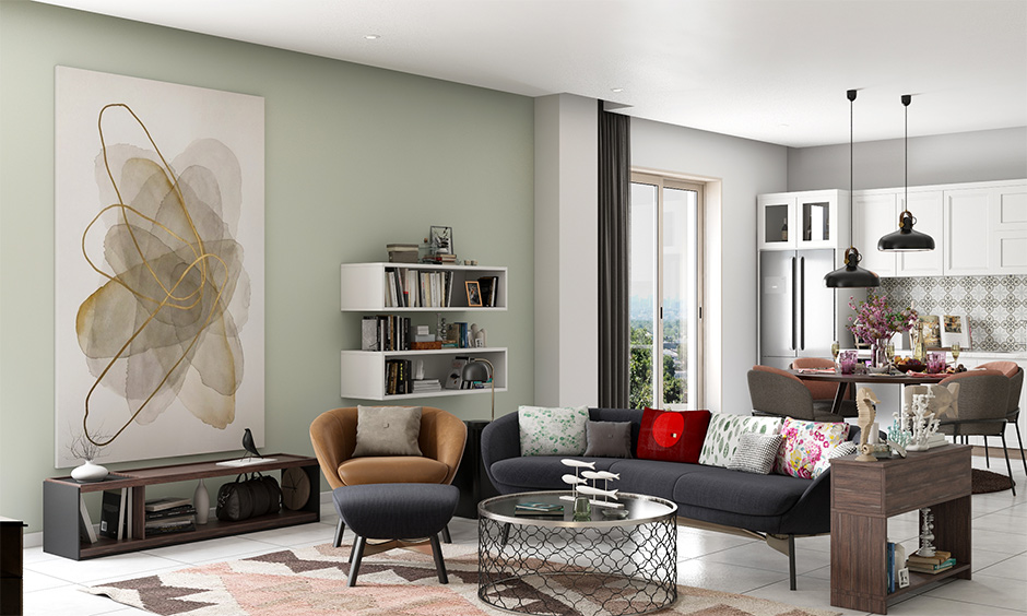 The living cum dining area with a side table with a storage cabinet is space-saving living room furniture.
