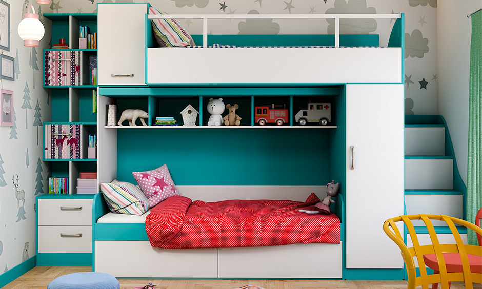 Multipurpose bunk bed designed with an attached wardrobe and shelf is the most innovative multi-purpose furniture design.