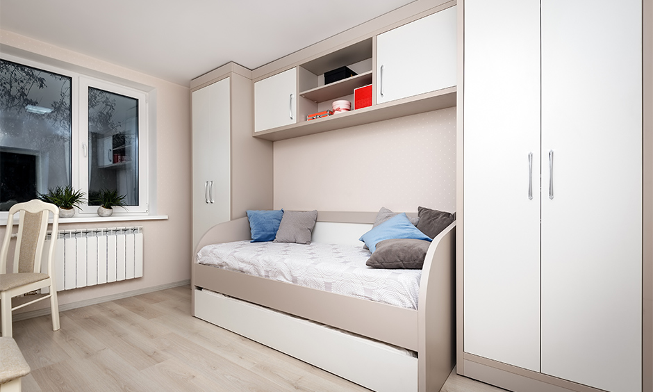 Space saving sofa bed which gives you an additional seating, storage as well as a comfortable bed