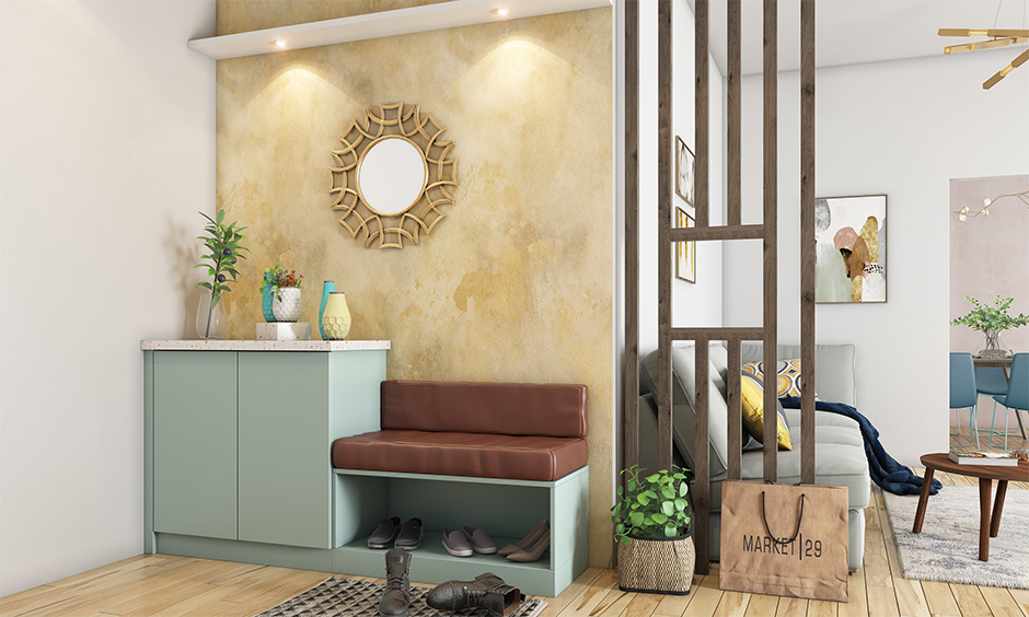 The foyer area has a multipurpose room furniture shoe rack with an attached bench design.