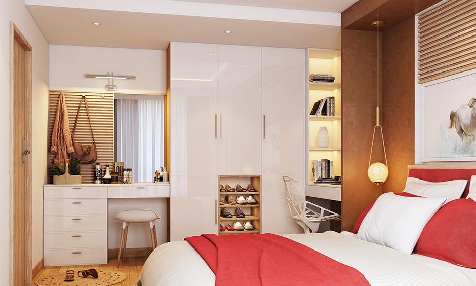 Wardrobe multipurpose bedroom furniture with inbuilt shoe rack, attached study unit and dressing unit is the best design.