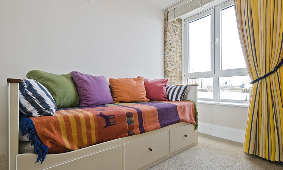 Space saving sofa bed for a cosy corner