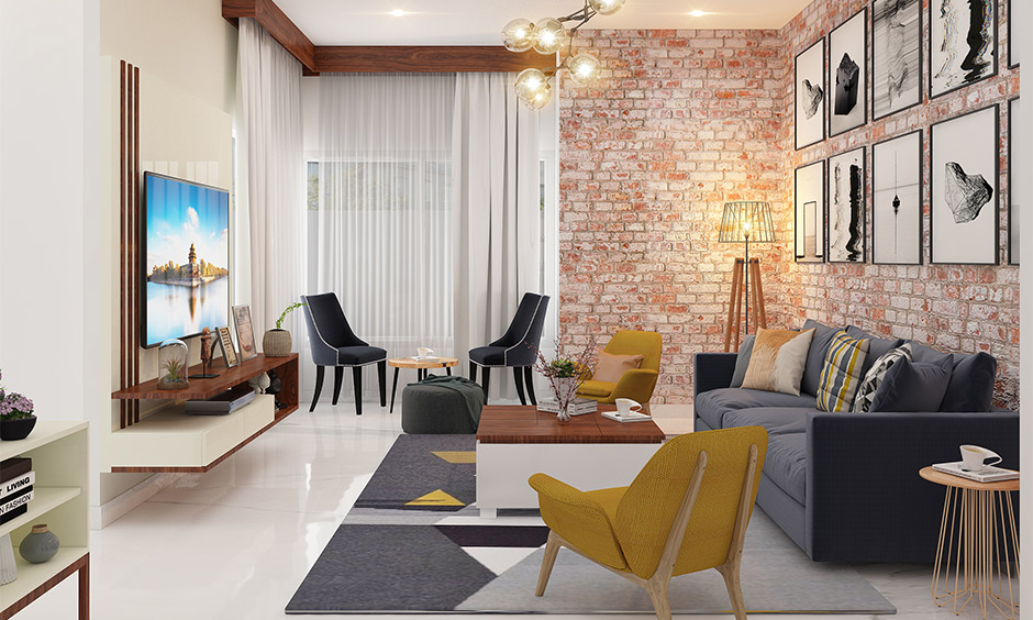 Designer chairs for living room in different types lend aesthetic appeal to space with a brick wall.