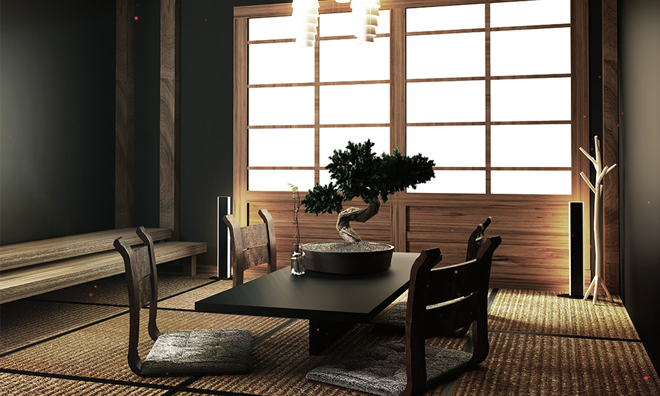 The dining room in zen concept interior design has a low table and four-floor chairs without legs.