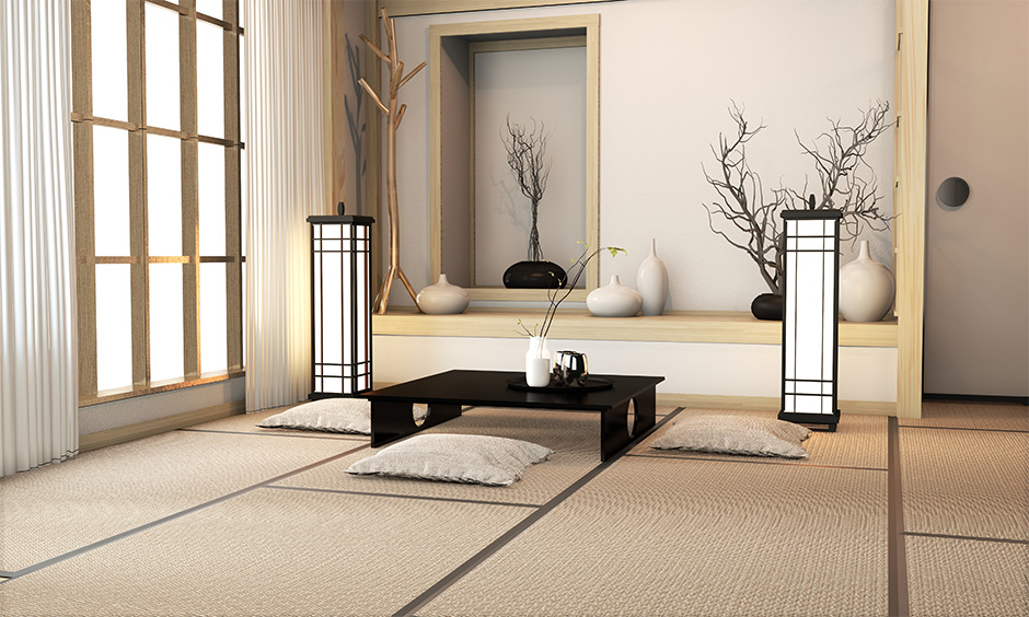 Zen style interior room has a low-level coffee table and pairs it up with stylish floor mats, floor cushions and futons.