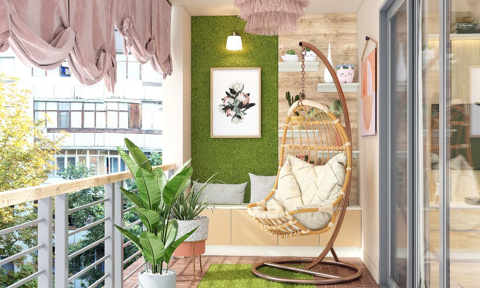 Small balcony design with turfgrass wall and single seater wicker swing
