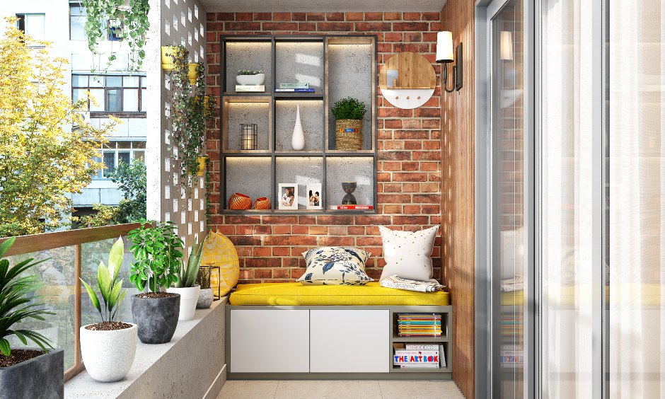 Balcony design with a brick wall and open shelves