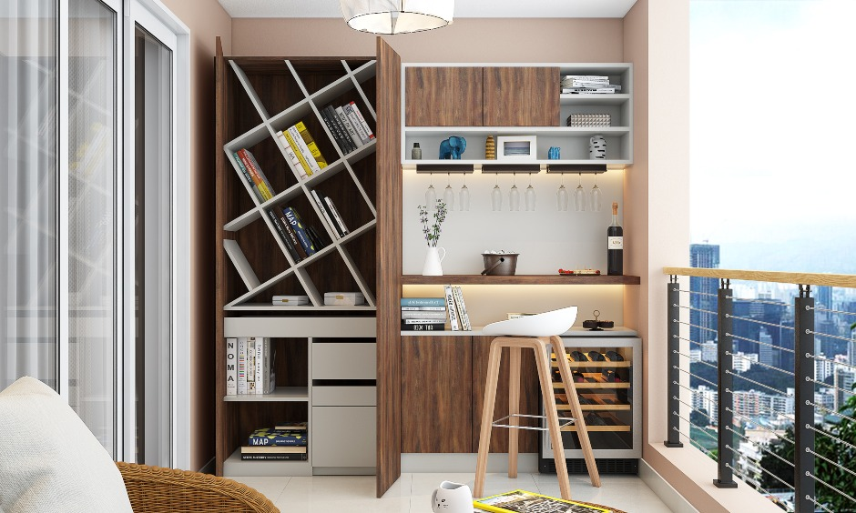 Modern balcony design with a study knook and hidden storage