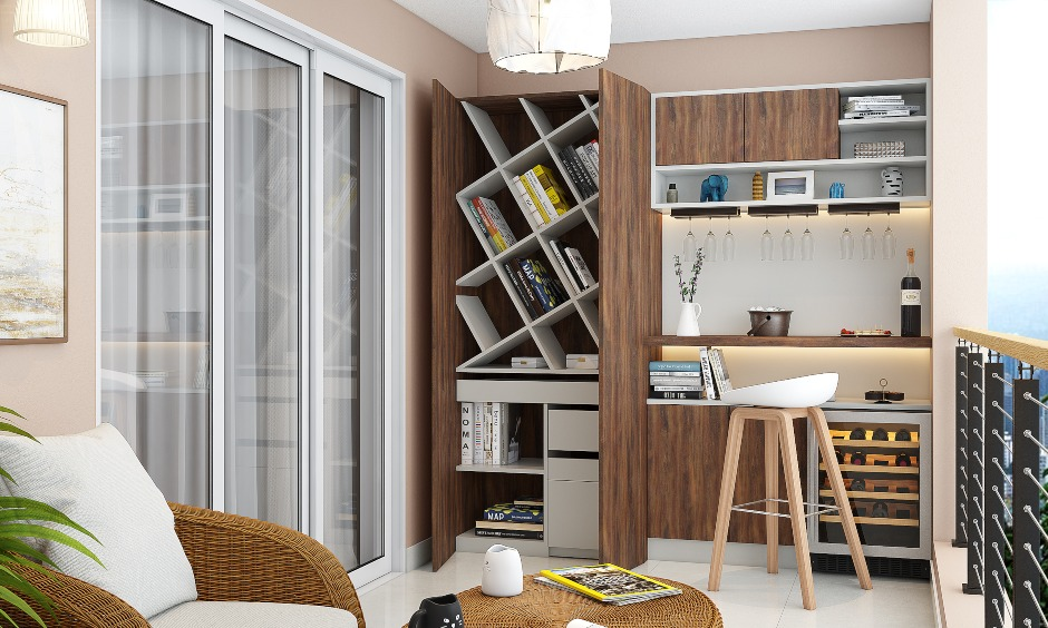 Modern balcony comes with a wall to ceiling cabinet with diagonal bookshelves