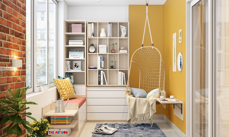 Stylish balcony design with a book cabinet and a hanging swing