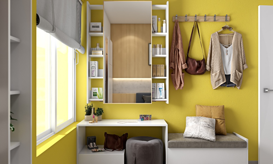 Modern 2bhk house bedroom interiors with dressing unit